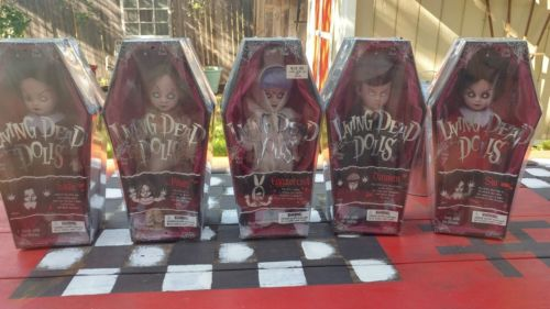 LIVING DEAD DOLLS SERIES 1 COMPLETE SET EGGZORCIST, SADIE, SIN, POSEY,  & DAMIEN