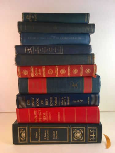Lot Of 10 Vintage Books Instant Library Decor Reds & Blues Plato Caesar Kipling