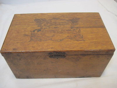 OLD VINTAGE WOOD-WOODEN BARNES OF CLEVELAND CIGAR BOX DOVETAIL ADVERTISING