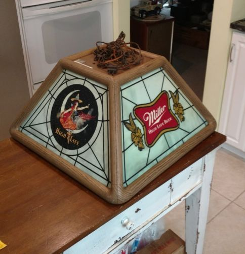 Miller High Life Stained Glass Pool Table Light: For Sale Classifieds