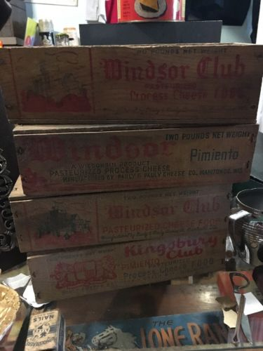 Vintage Wood Cheese Boxes Lot Of 4