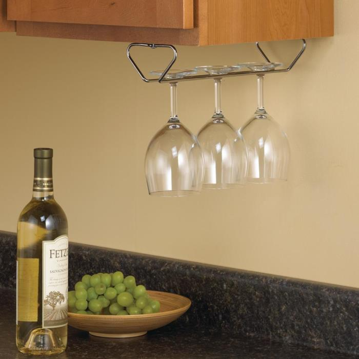 Steel Kitchen Organizer Stemware Under Cabinet Wine Glass Hanging Storage Rack