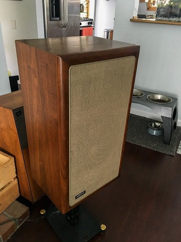 70s Advent A4 Audiophile Speakers - Danish Walnut Bullnose Cabs! New Surrounds!