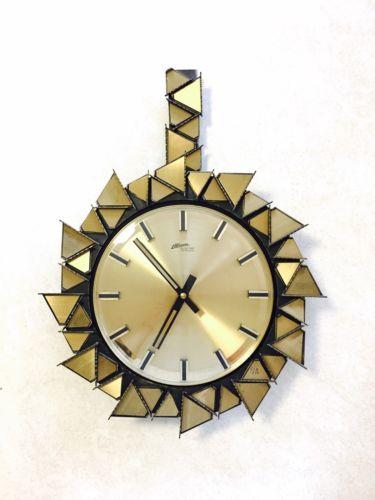 Brutalist Minimalist Vintage Wall Clock Mid Century ATLANTA German Vintage