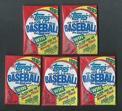 Unopened 1985 Topps Baseball (5) Wax Pack Lot McGwire Clemens Puckett RC Year