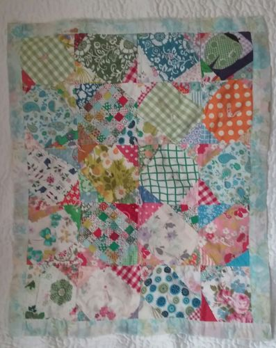 Beautiful Vintage Patchwork Doll Quilt Squares Hand Sewn