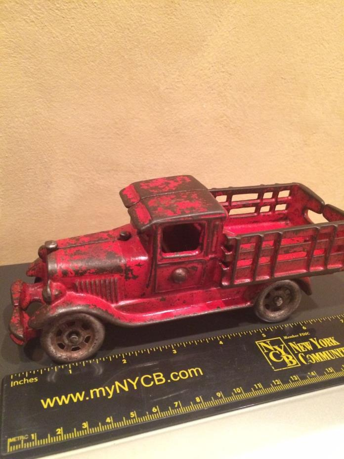 Antique cast iron large 7+ inch AC Williams farm stake bed truck from 30s