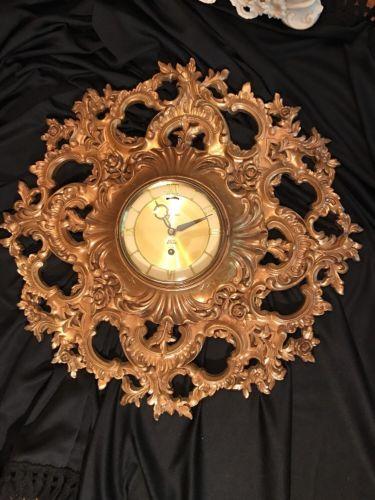 SYROCO Stunning Ornate Rococo Gold 8 Day Wall Clock Glass Door Hinge No Key