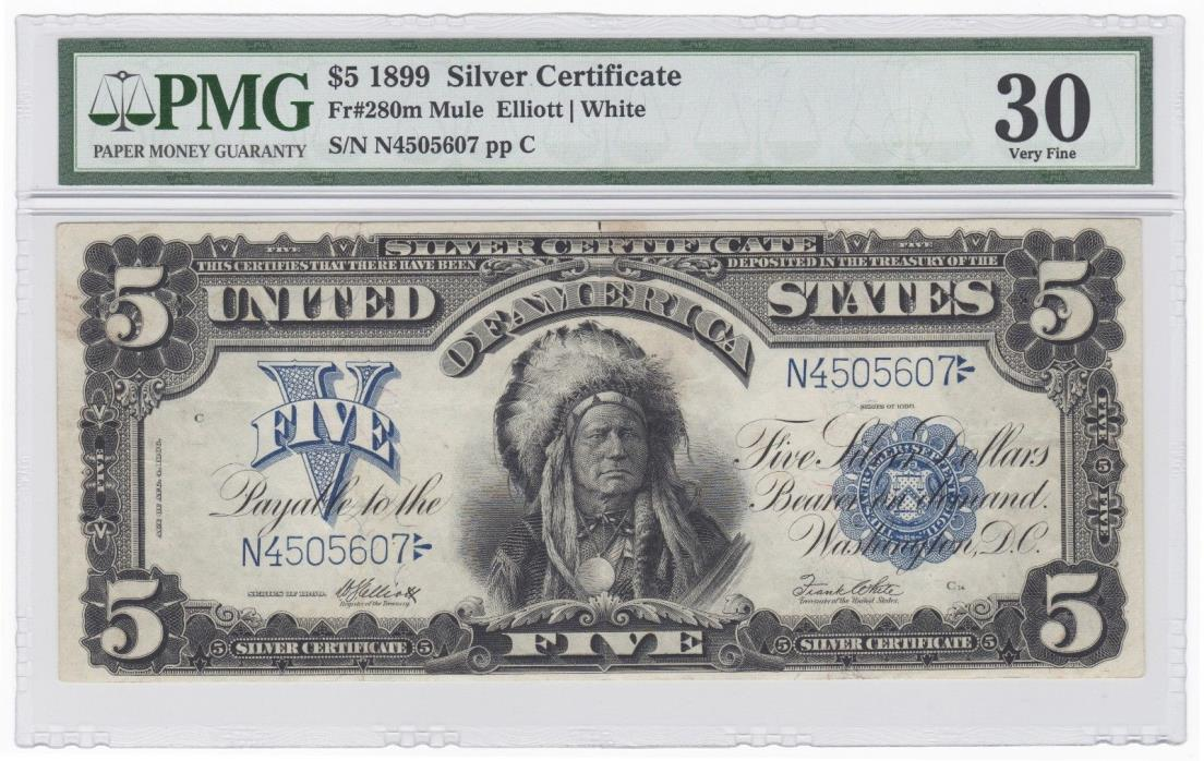 1899 U.S. $5 Indian Chief Silver Certificate Note - FR# 280m Mule - PMG VF 30