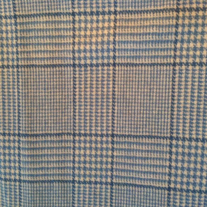 Blue wool plaid fabric