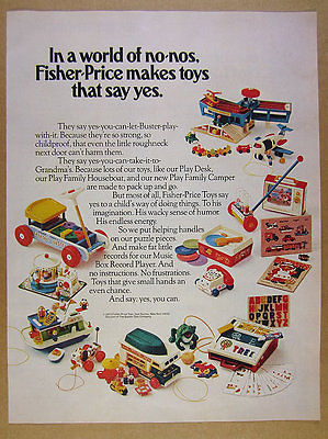 1973 Fisher-Price Toys coaster houseboat camper airport hoppers vintage print Ad