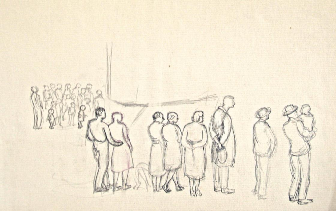 Dorothy Eaton Drawing (XLIII) People Watching an Event