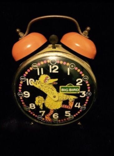 Vintage Big Bird Muppets Sesame Street Wind Up Twin Bell Alarm Clock -Needs Work