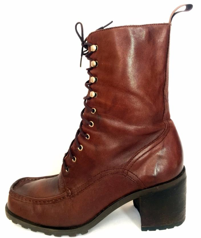 Vtg 90s Womens Nine West Moc Toe Leather CHUNKY Heel Boots Ankle 8.5 Lace-up