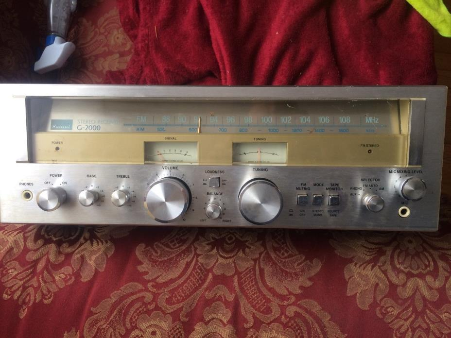 Sansui G-2000 Vintage AM/FM Stereo Receiver with Wood Case - see video works