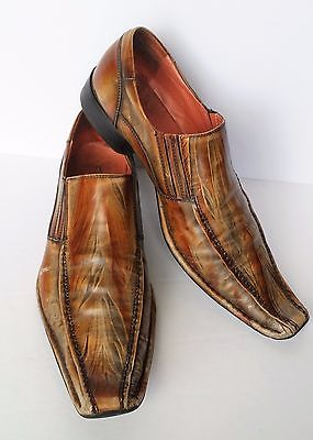 Vintage Retro Aldo Mens Size 44 US 11 Gold & Copper Pointy Toe Western Shoes