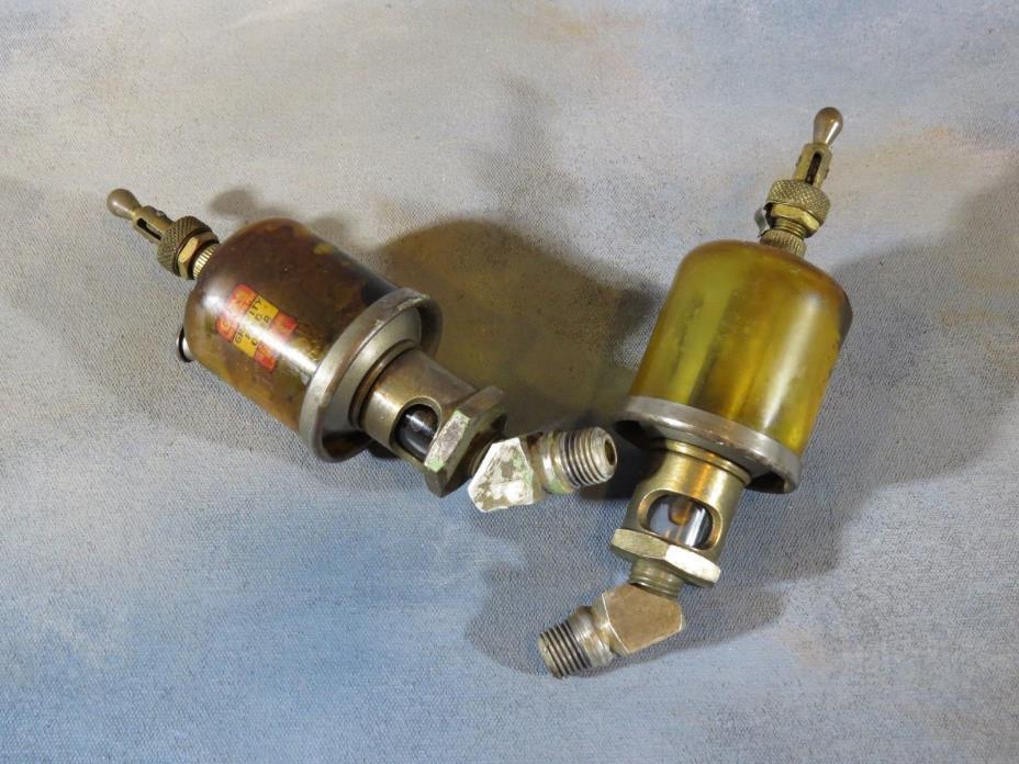 Pair of Hit n Miss, Steam Engine Oilers GITS Gravity Feed Oilers vintage brass