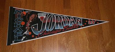 1990's BULLS Michael Jordan caricature pennant Chicago AIR JORDAN original