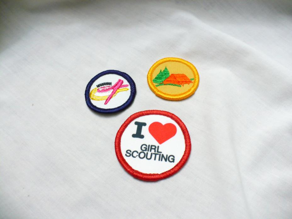 Vintage PATCH LOT 3  Girl Scout Brownie - Circle Patches - I love girl scouting