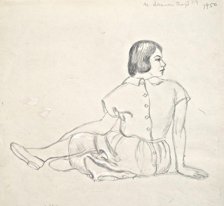 Dorothy Eaton Drawing (XXXI) Seated Woman