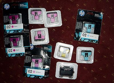 Lot of 10 HP 02 Ink Genuine HP  Black, Yellow, Magenta, Cyan look at picture