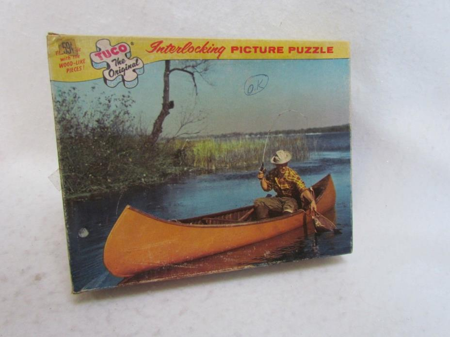 Vintage Made in USA Tuco Jigsaw Puzzle:  Man Fishing in Boat ~ Complete