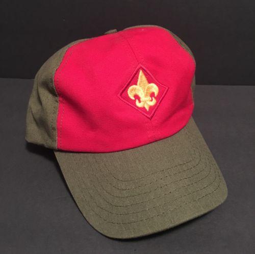 Boy Cub Scout Webelos Hat Baseball Cap Olive Green Red Fleur De Lis Logo M/L