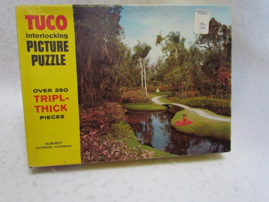 Vintage Made in USA Tuco Jigsaw Puzzle:  Cypress Gardens ~ Complete