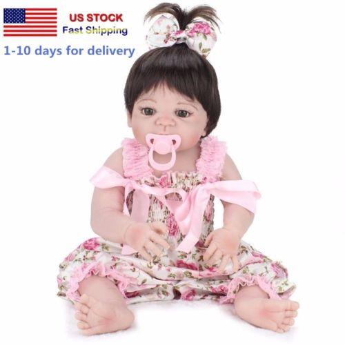 USA- 22'' Lifelike Reborn Baby Doll Girl Vinyl Silicone Handmade Toy Full Body