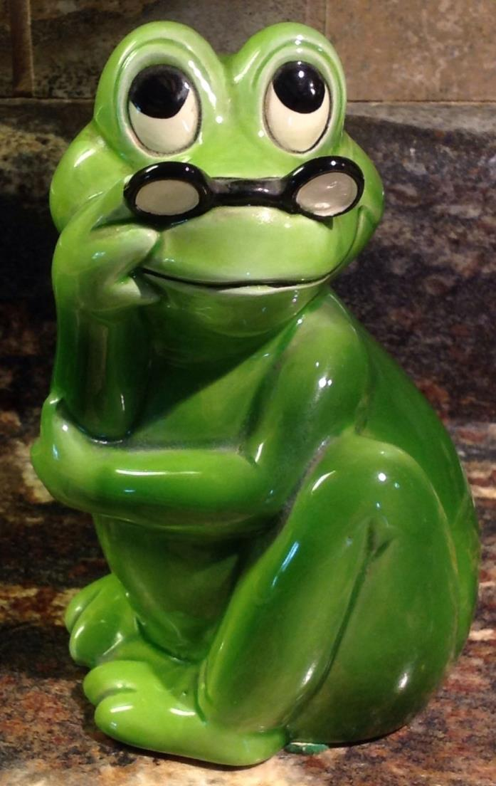 VINTAGE SMART GREEN FROG WITH GLASSES COIN PIGGY BANK