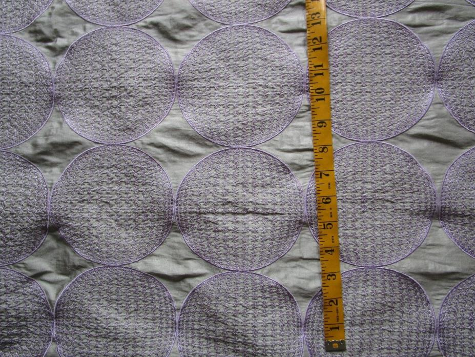 Gray Silk Lavender Embroidered modern globes The Silk Comp. PHOEBE 60