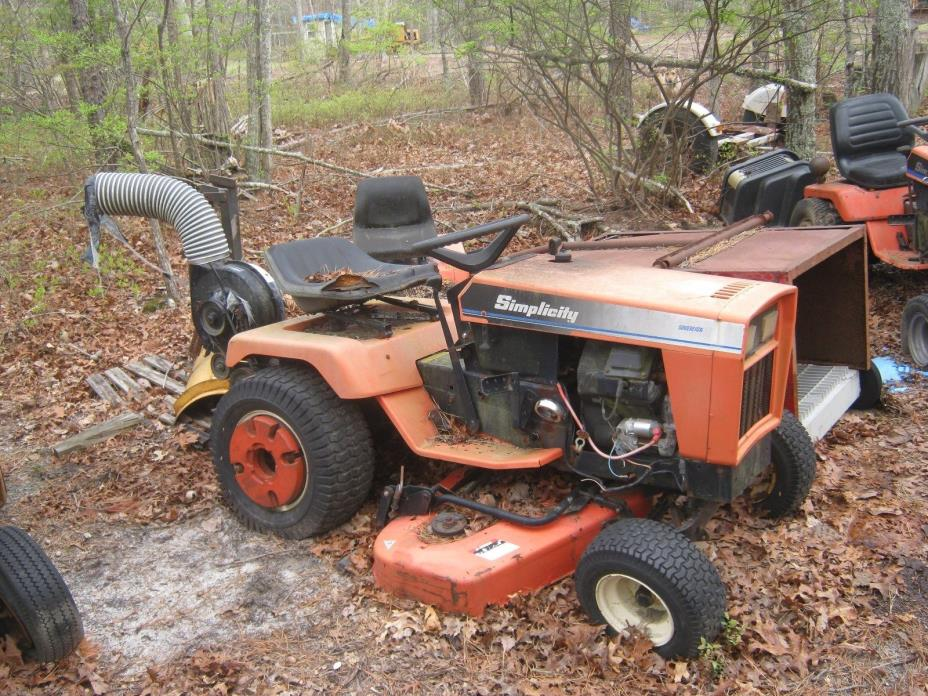 Simplicity Sovereign tractors (2) tractor package snow plow mower 2 vac units