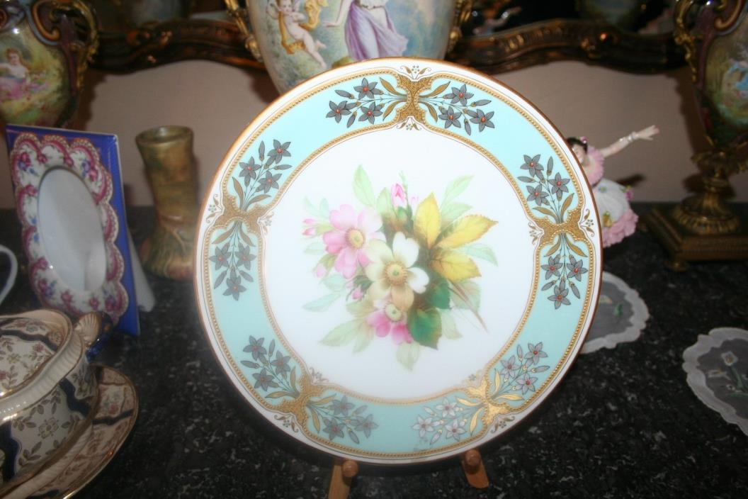 Pretty Antique Royal Worcester Ornate Cabinet Plate 1800's