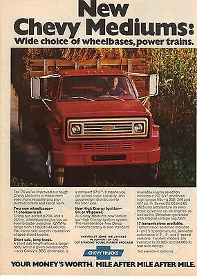 Original 1976 Chevrolet Truck Magazine Ad - New Chevy Mediums