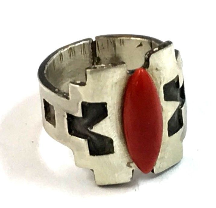 Southwestern Sterling Silver Abstract Red Coral Men's Ring