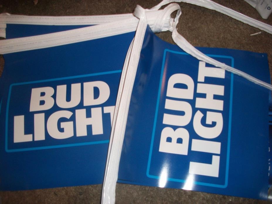 Bud Light streamer flags vinyl double sided signs 25ft blue beer bar man pool