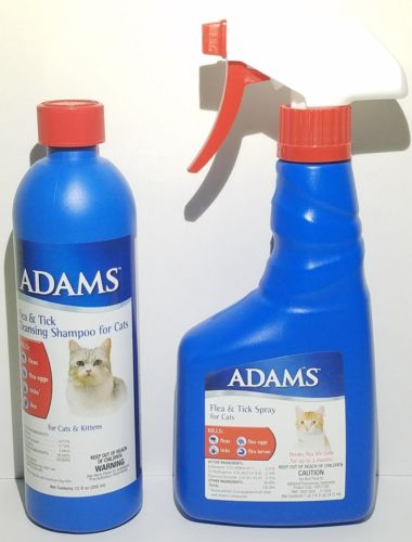 Adams Flea & Tick Spray and Flea & Tick Cleansing Shampoo For Cats