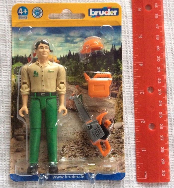 Bruder Trucks Logging Man Forest Worker w/ Accessories 4.25