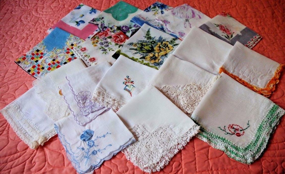Vintage Hankies Lot of 18 VGC & Lovely