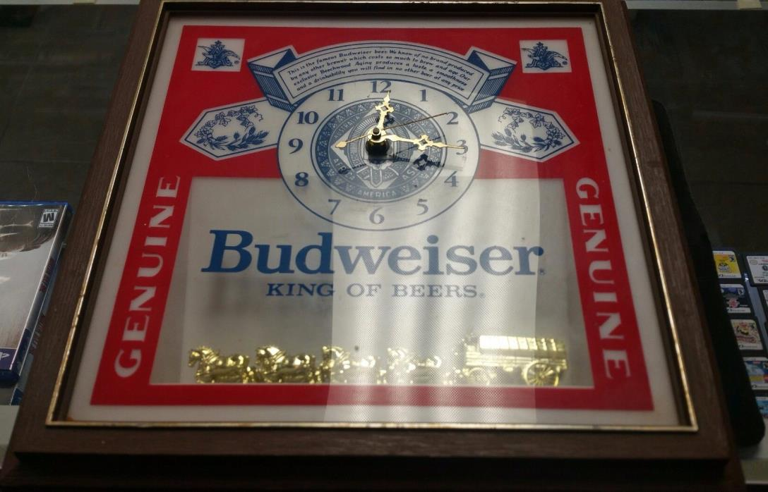 Budweiser Beer Clydesdale Horses Clock Lighted Sign 1989