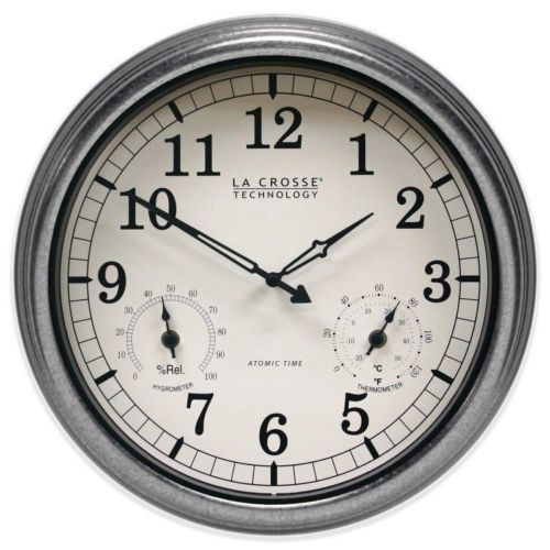 La Crosse Technology Indoor Outdoor Decor Metal Atomic Wall Mount Clock Silver