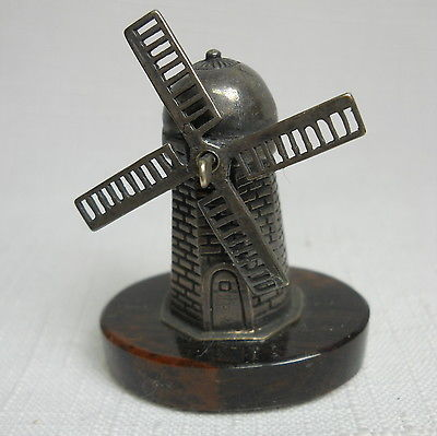 Antique Miniature Sterling Silver 925 WINDMILL with Stone Base - EXCELLENT!