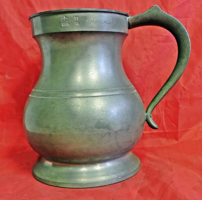 SCARCE ANTIQUE HALF GALLON JAMES YATES ENGLISH LEADLESS PEWTER PITCHER 19TH CENT