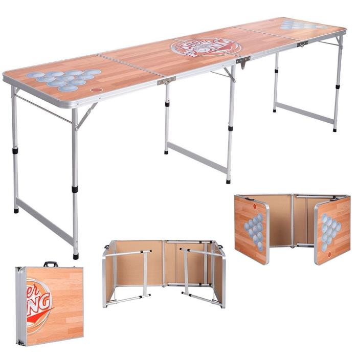 Folding Beer Pong Table Portable 8FT Aluminum Indoor Outdoor Talegate Party Game