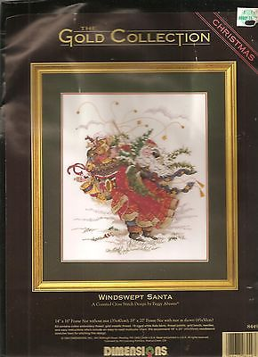 Dimensions Windswept Santa Christmas Gold Counted Cross Stitch Kit 8449 Claus
