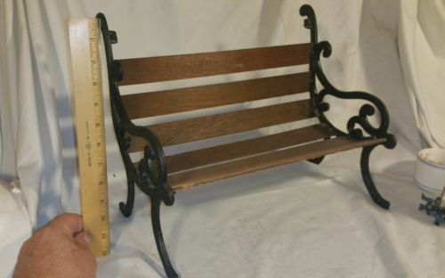 cast Iron and wood mini park bench dolls etc