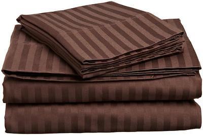 1200 TC 4 PC's Sheet Set Extra Deep Pocket 100% Pima Cotton Chocolate Stripe