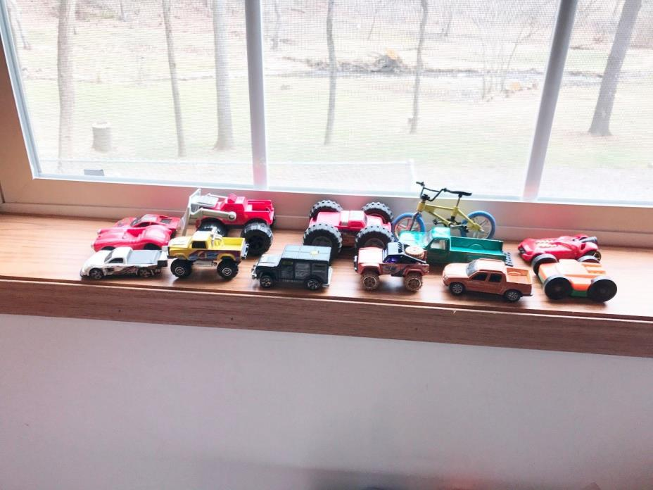VINTAGE PLASTIC TOY CARS, TRUCKS AND BICYCLE, HOT WHEELS, MCDONALDS,ETC