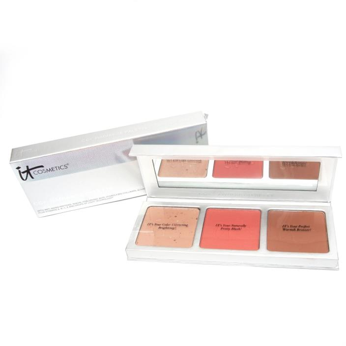 IT Cosmetics CC+ Radiance Palette: Color Correcting, Matte Blush and Bronzer NIB