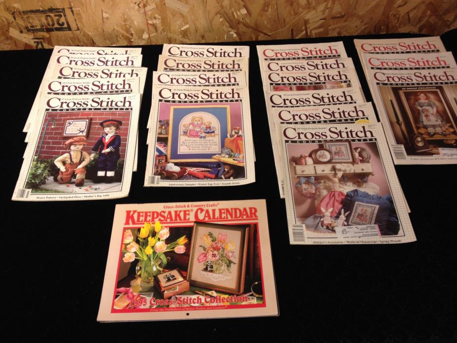 Lot 18 Cross Stitch & Country Crafts  Magazines 1988-1993 Includes 1995 Calendar
